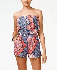 Jessica Simpson Nalan Red-Multi Bandana Print Strapless Flounce Jersey Romper