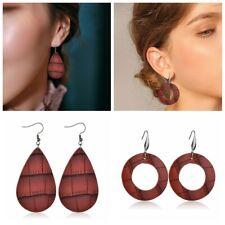 2019 Handmade Leather Earrings Boho Round Teardrop Dangle Ear Stud Jewelry Women