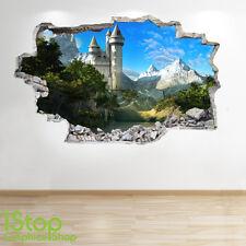 Adesivo parete Castello delle Fiabe 3d Look-ragazzi ragazze incantata murali z111