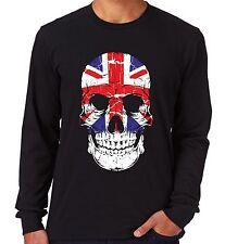Velocitee Mens Long Sleeve T Shirt Uk Skull Union Jack Flag Gb Scary Evil V16