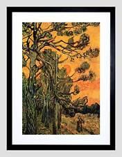 Van Gogh PINI contro un CIELO ROSSO CON TELAIO TRAMONTO Stampa Artistica b12x2121