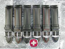 New 20mm Black CALF LEATHER Strap CAVALRY Watch Band VICTORINOX SWISS ARMY M