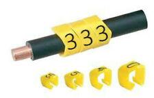 E-type Clip Cable Marcadores-estilo abierto Cable Clips-Negro Sobre Amarillo Talle 20
