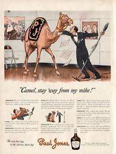 1942 Paul Jones PJ Whisky Radio Announcer and Camel PRINT AD