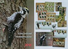 Rumanía 2016, carpinteros, pájaros, animales woodpeckers mi.7031-34, zf., KB, bloque 650, FDC.