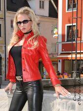 Lederjacke Leder Jacke Rot Jeansstil Ziernähte Größe 32 - 58 XS - XXXL