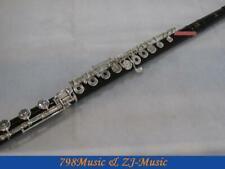 Ebony Wood Grenadilla Flute-B foot-Open Hole-Split-E-Silver Plated