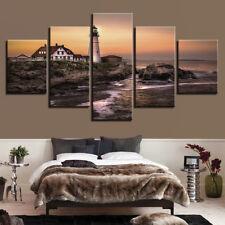Portland Headlight Lighthouse Sunset 5 Piece Canvas Print Wall Art