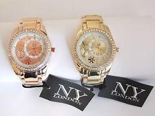 NY London Bling Crystal Jewelled Bezel Yellow / Rose Gold Tone Fashion Watch