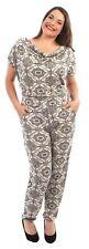 New Ladies Cap Sleeve Cowl Neck Floral Detail Hareem Jumpsuits Dress 14-28