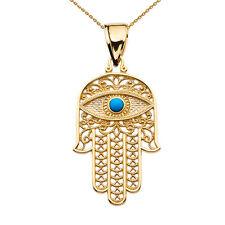 14k Yellow Gold Evil Eye Turquoise Stone Filigree Hamsa Hand Pendant Necklace