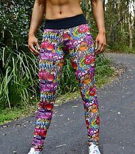 Full Length Graffiti Print Leggings S M L Gym Womens Yoga Pants Tight Fitness