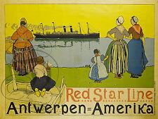 PLAQUE ALU REPRODUISANT UNE AFFICHE RED STAR LINCE ANTWERPEN AMERIKA BATEAU