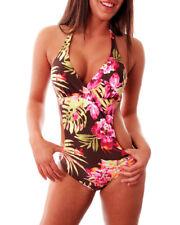 MARINA WEST F721 Luxury Super Soft Tropical Print Halterneck Monokini