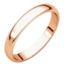 Solid 10k Yellow White Rose Gold 3mm Comfort Fit Men Women Wedding Band Ring