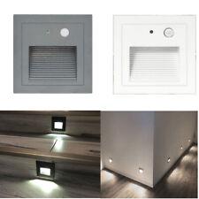 230V LED Wandeinbauleuchte Treppe Stufenlicht Lampe Licht Bewegungsmelder Kalt
