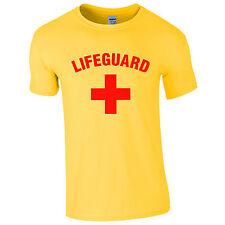 Da Uomo BAGNINO Cross + T-shirt-Costume Beach Party Top Giallo Nuovo S-2XL