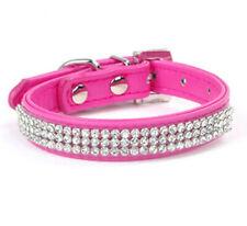 CUCCIOLO di cane Collare Rosa Shocking Diamante Scintillante Crystal Bling, Nuovo di zecca, FREEPOST!
