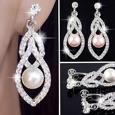 #E121L Glitzy CLIP ON screw back EARRINGS Teardrop Clear Crystal Faux Pearl Drop
