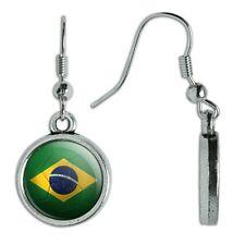 Novelty Dangling Drop Charm Earrings Soccer Futbol Football Country Flag A-I