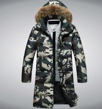 Men's winter camouflage down parka coat wetlook outdoor jacket fur collar M-5XL