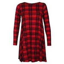 Womens  Red Tartan Print Long Sleeve Swing Skater Dress Plus Size 8-26 NEW