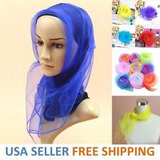 Vintage 50s Wrap Hair Head Neck Tie Super Light Chiffon Women Neck Scarf USA