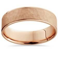 14k Rose Gold Hammered Comfort Fit Wedding Band