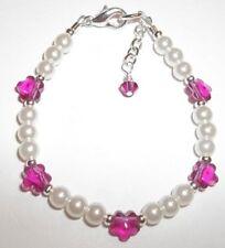 Baby Child Girl Bracelet Fuchsia Flower, Pearl, Silver made a Swarovski