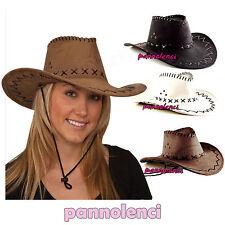 Cappello COWBOY COWGIRL hat cappellino scamosciato carnevale festa party  HUT5 8a528ead240b