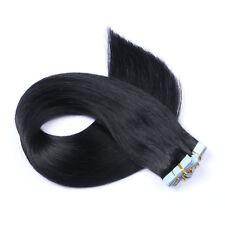Tape In On -1 SCHWARZ Hair Extensions Echthaar Strähnen Haarverlängerung Tresse