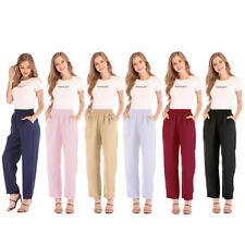 Women Cotton Linen Solid Elastic Waist Pants Ladies Autumn Casual Loose Hig P4C7