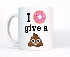 I Donut Give a Poop Cute Funny Quote Coffee Mug, Crap Emoji Pink Sprinkle Cup