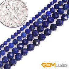 Natural Blue Lapis Lazuli Gemstone Semi Precious Polygonal Faceted Round Beads Y