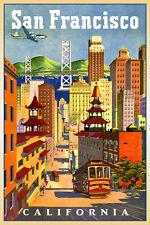 SAN FRANCISCO Bay California New Retro Poster Cable Car Travel Art Print 118-