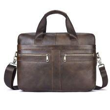 Men's Genuine Cow Leather Shoulder Messenger Bag Briefcase Handbag Laptop bag