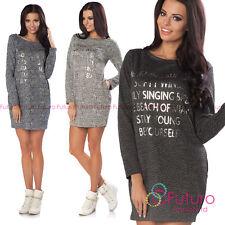 Maglione da donna abito manica lunga mini oversize tunica TOP DIMENSIONE 8-12