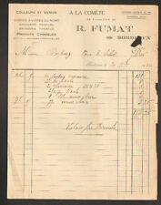 """BORDEAUX (33) DROGUERIE & PRODUITS CHIMIQUES """"A LA COMETE / R. FUMAT"""" en 1922"""