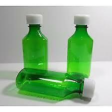 Green Liquid Oval Graduated Medicine Bottle CR Caps Multiple Sizes full cartons