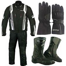 RKSports 1509 Motorbike Waterproof Grey Suit Glove Boots Trousers Jacket CE Mens