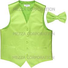 New Men's Vesuvio Napoli Tuxedo Vest Waistcoat Bowtie prom party Lime Green