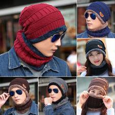 Unisex Beanie Skull Cap Wool Knit Winter Hat Beanie + Neckerchief For Men