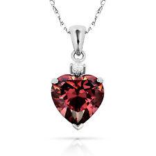 3.07Ct White Sapphire & Heart Alexandrite Charm Pendant14K White Gold w/Chain