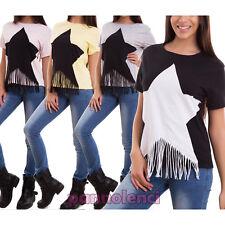 Pull femme shirt, un sweat-shirt manches courtes stella franges sexy CJ-2113