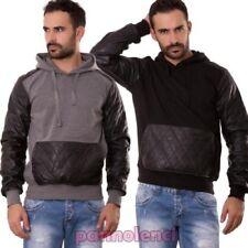 Sweat hommes manches longues à capuche cuir écologique poches jersey pull M5011