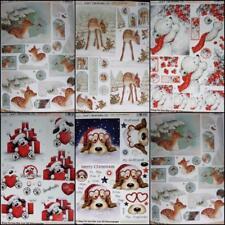 3D A4 Die Cut Paper Tole Decoupage Christmas Puppy Love Bear Deer NoCutting