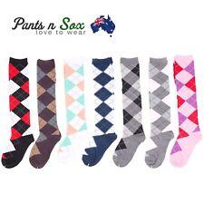 New Womens Size 2-8 Check Diamond Knee High Socks Argyle Pattern AU Stock Party