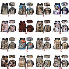 Kitty Cat Pet Girls Backpack Set School Lunch Pen Bags Women Laptop Rucksack New