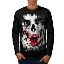 JOKER Faccia Scheletro Teschio Uomo Manica Lunga T-shirt Nuove | wellcoda