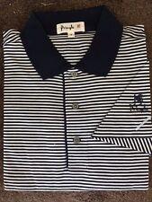 New NWT Pringle Mens Navy Blue , Wht Polo Style Golf Shirt w Pringle Sleeve Logo